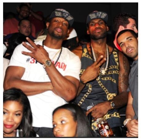 Dwyane Wade, LeBron James, Drake